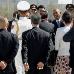 U.S. President Barack Obama greets dignitaries after arriving aboard Air Force One at Hangzhou Xiaoshan International Airport in Hangzhou, China September 3, 2016. REUTERS/Jonathan Ernst