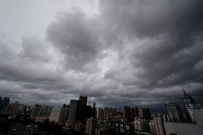 Clouds hover above the city as Typhoon Meranti approaches southeastern China, in Xiamen, Fujian province, China, September 14, 2016. Picture taken September 14, 2016. REUTERS/Stringer