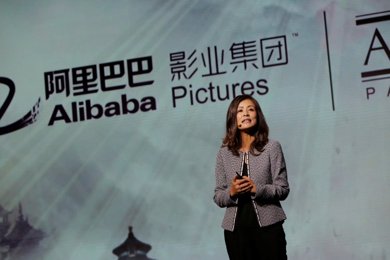 President of Alibaba Pictures Group Limited, Zhang Wei, speaks during an event to announce partnership between Alibaba Pictures Group Limited and Amblin Partners, in Beijing