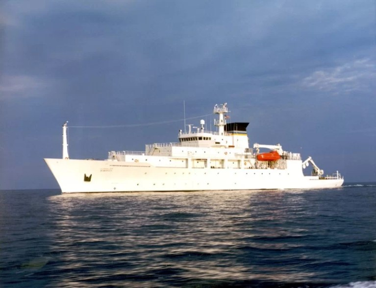 The oceanographic survey ship, USNS Bowditch, is shown September 20, 2002, which deployed an underwater drone seized by a Chinese Navy warship in international waters in South China Sea