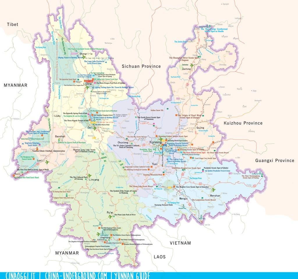 Yunnan tourist map