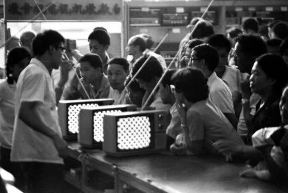 black and white tv sets in China