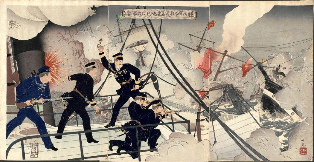 Kabayama, the Head of the Naval Commanding Staff, onboard Seikyōmaru, attacks Enemy Ships