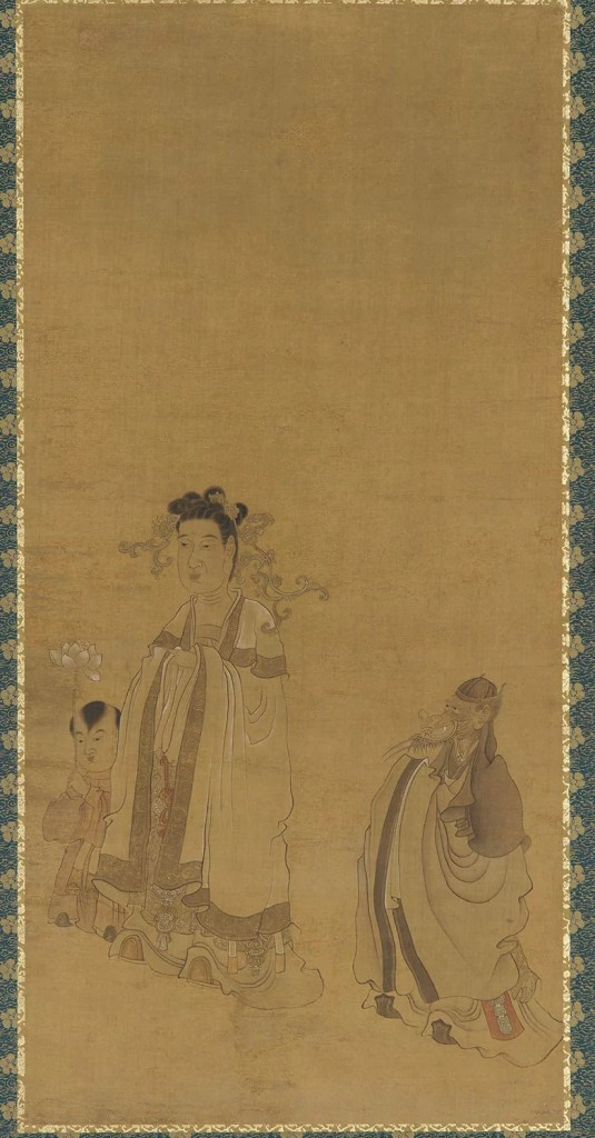 The dragon king revering the Buddha