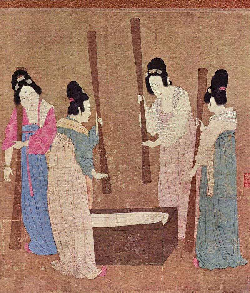 Women preparing silk, 12th century