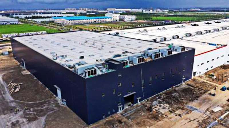 An aerial view of Tesla's factory in Shanghai in August. The factory is expected to start operations by the end of this year.
