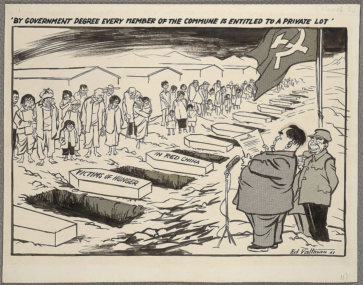 By-government-decree-every-member-of-the-commune-is-entitled-to-a-private-lot_Mao political cartoon