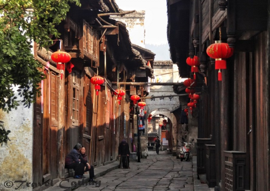Red lanterns in the streets of Qianyang, Hunan