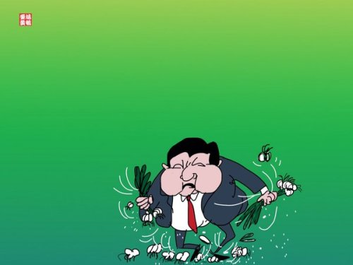 """""""Change of administration in Taiwan hurts the feelings of the Chinese people."""" Cartoon by @thomasycwong"""
