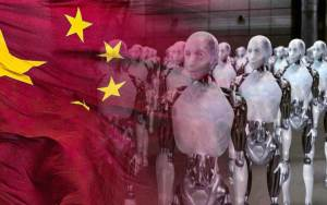 The image shows a Chinese flag merging with a production line of robots. Beijing is turning to robots and drones when it comes to disputed borders.