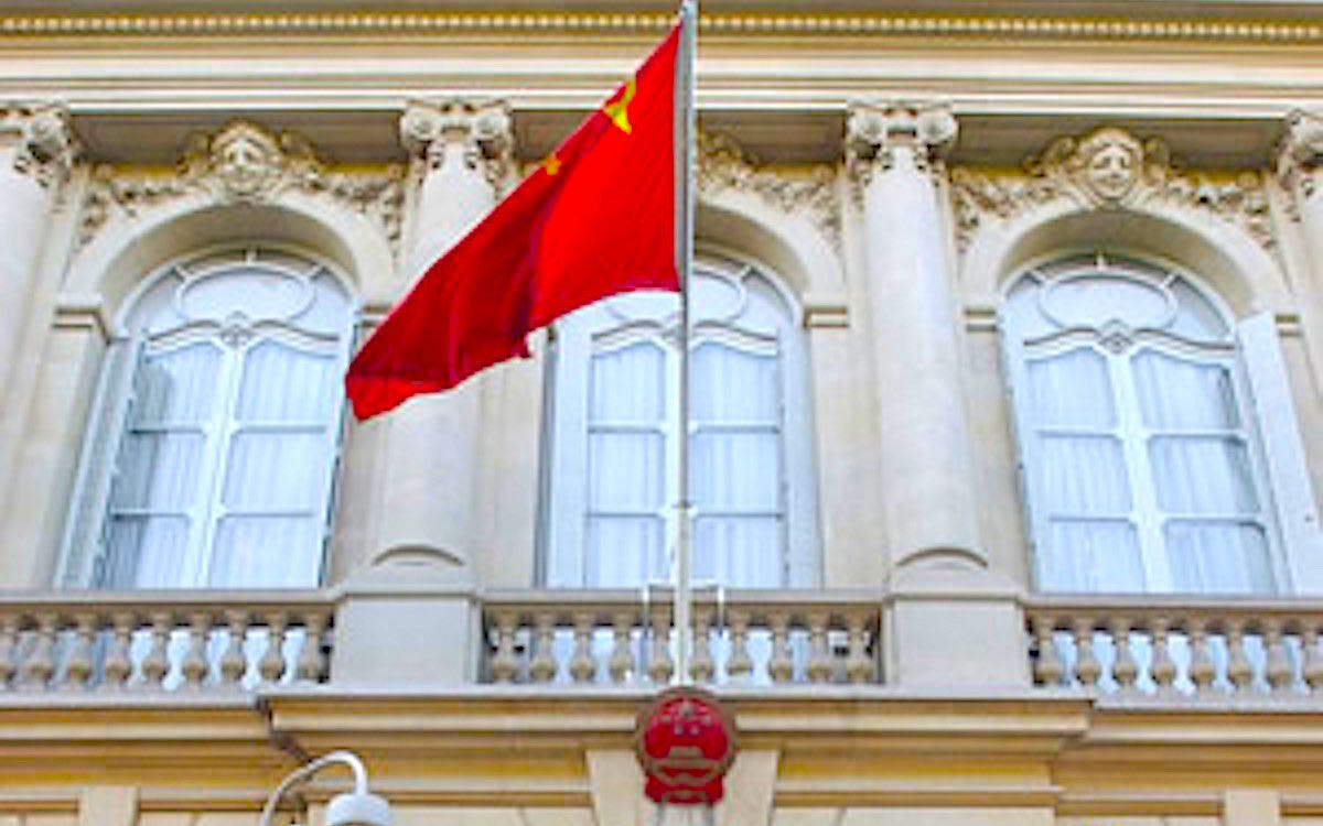 The photo shows the Chinese flag flying above the Chinese Embassy in Paris. French politicians have come under fire from Beijing before their planned trip to Taiwan later this year.