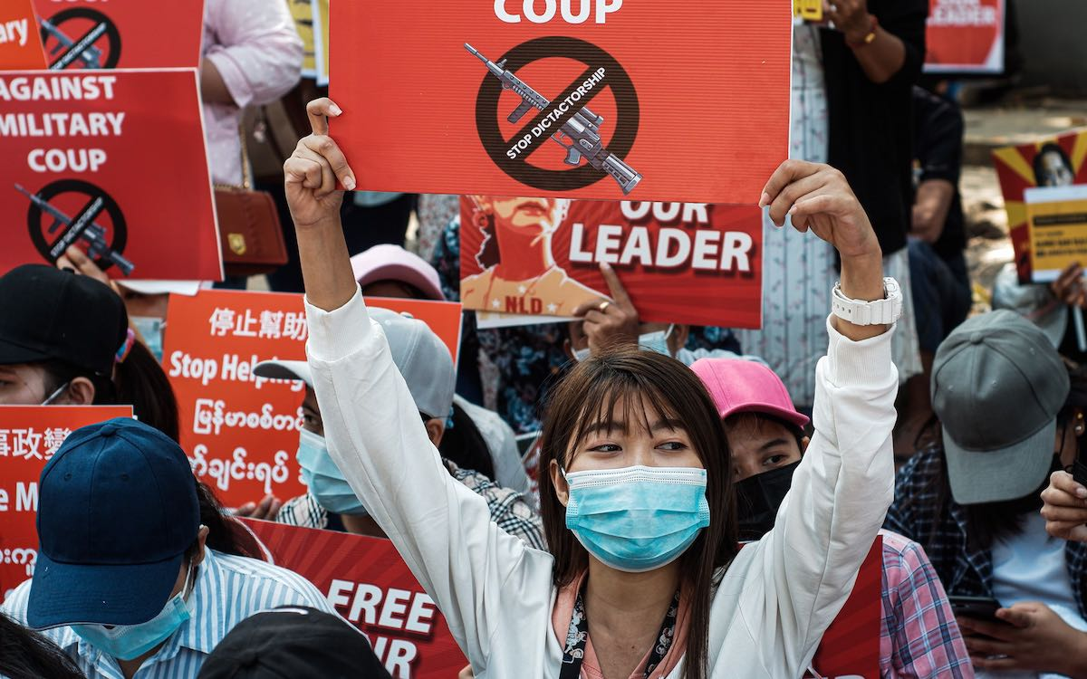 The photo shows protesters taking to the streets in Myanmar. Security services have violently cracked down on mass demonstrations in Myanmar after the army coup.