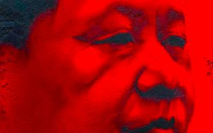The image shows a red mural of Chinese President Xi Jinping. His stranglehold on power has never been tighter.
