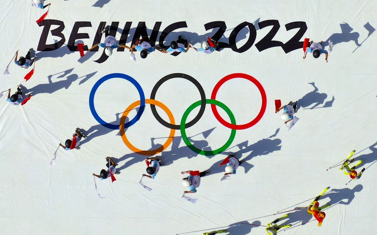 The photo shows a skiing display against the backdrop of the 2022 Winter Olympics logo as part of China's publicity campaign.