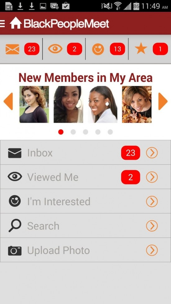 Mobile Website von blackpeoplemeet