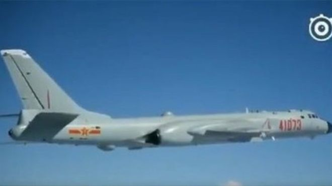 Chinese-Bombers-lands in-island