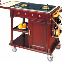 Small Rolling Kitchen Island Stainless Steel Undermount Sink Flambe Trolley | Chinahotelsupplies