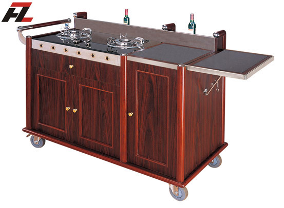Innovative Hotel Mobile Kitchen CartsFlambe Cooking Cart