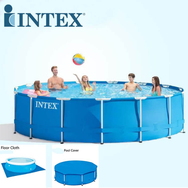 large intex above ground pool with free floor