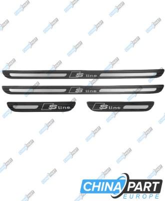 Audi Q5 8R S-Line Durų slenksčių apdailos komplektas (Plienas, black)