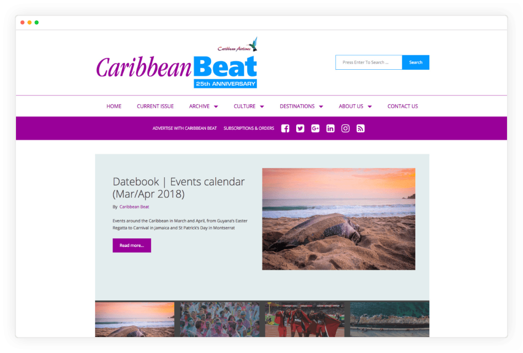 Screenshot of Caribbean Beat Home Page After