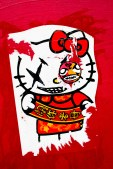 Hello Kitty graffiti with Chinese characters.