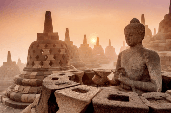 Buddhist Temple Borobudur at Sunrise in Yogyakarta, Indonesia.