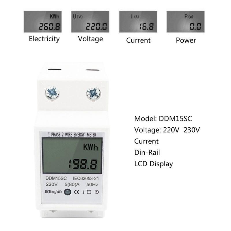 Цифровой счетчик энергии 5(80A) ЖК-цифровой дисплей однофазный DIN-рейка электронная энергия кВт/ч метр DDM15SC