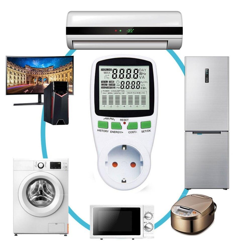Цифровой ЖК-дисплей, Интеллектуальный измеритель мощности переменного тока, счетчик мощности, Биллинговая розетка, счетчик энергии кВт/ч, н...