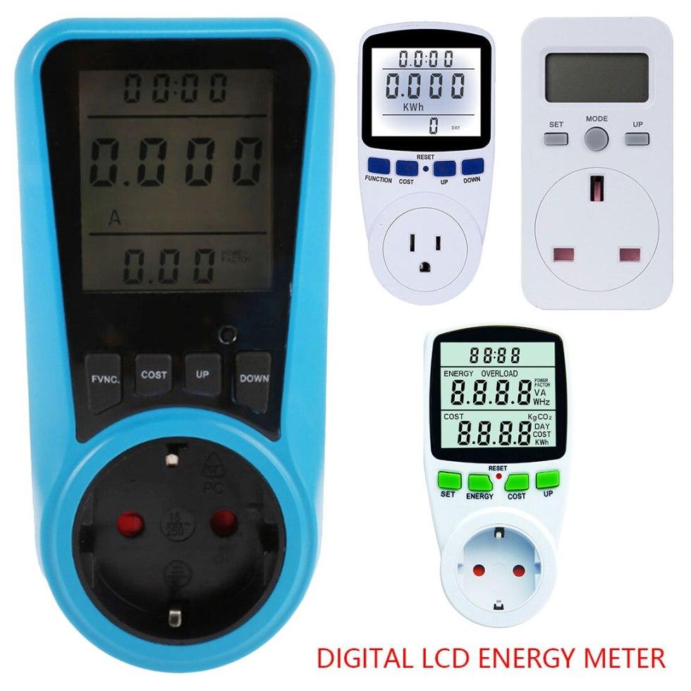 Цифровой ЖК-счетчик энергии ваттметр мощность электроэнергии кВт-ч измеритель мощности измерительный выходной анализатор мощности EU US UK ...