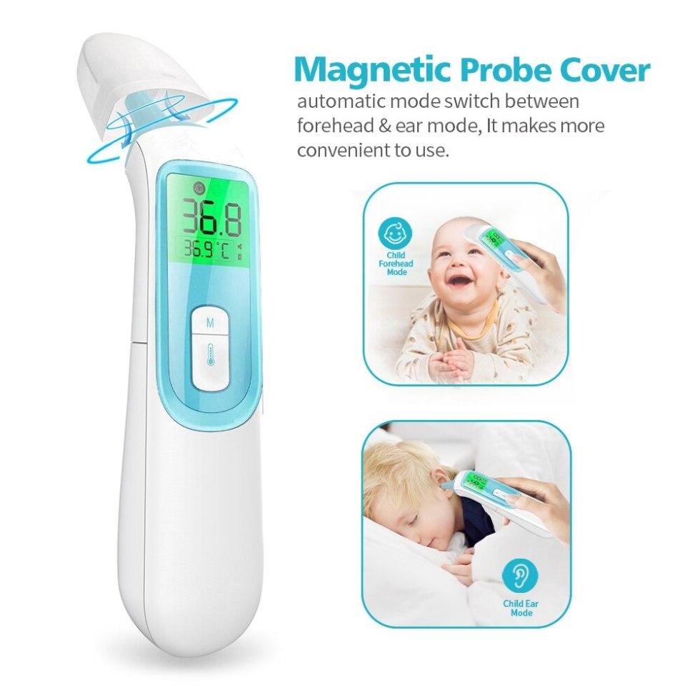 ELERA дешевый инфракрасный Детский термометр для лба и уха быстрое точное измерение цифровой ЖК Бесконтактный Детский термометр