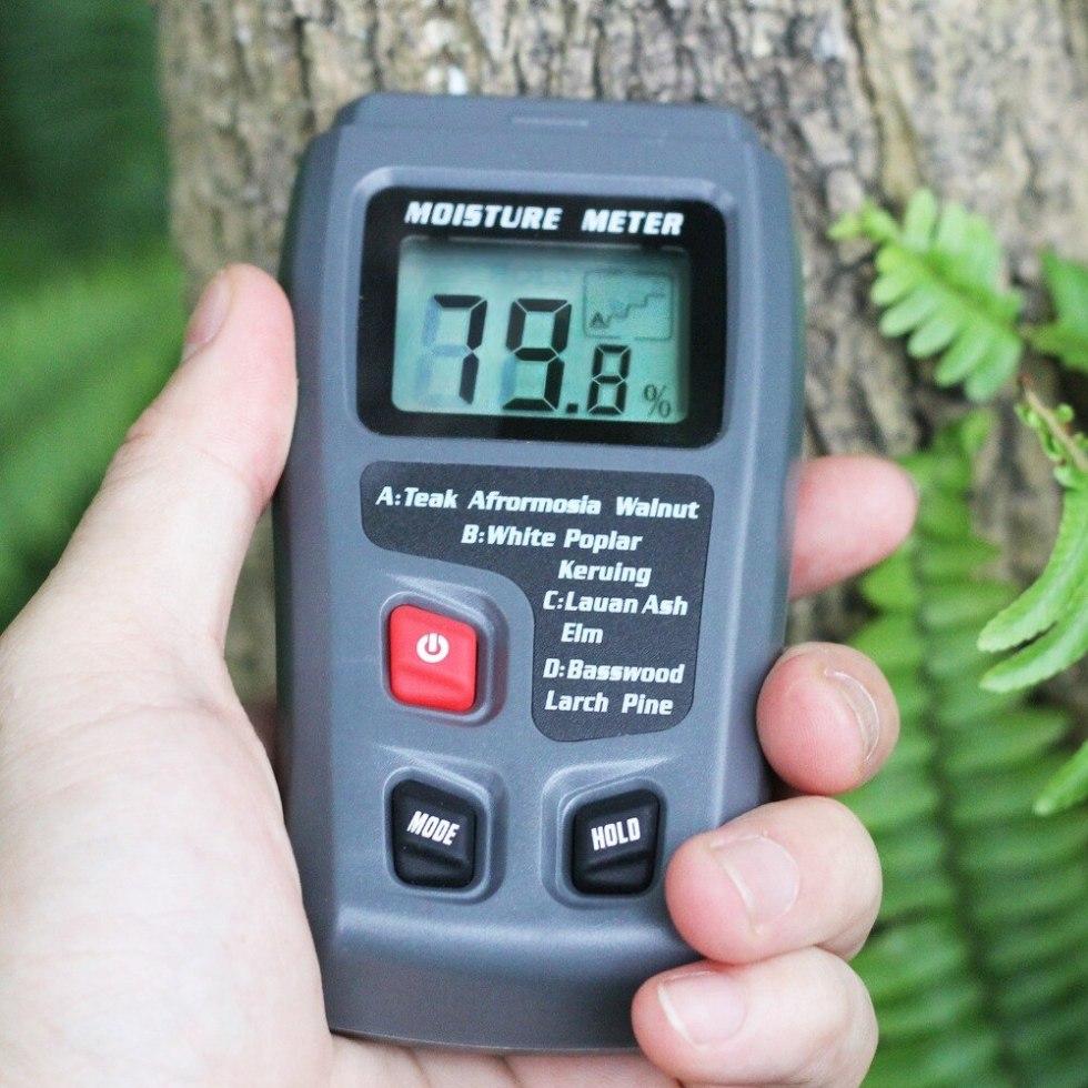 EMT01 двухконтактный цифровой измеритель влажности древесины 0-99.9% тестер влажности древесины детектор влажности древесины с большим ЖК-дисп...