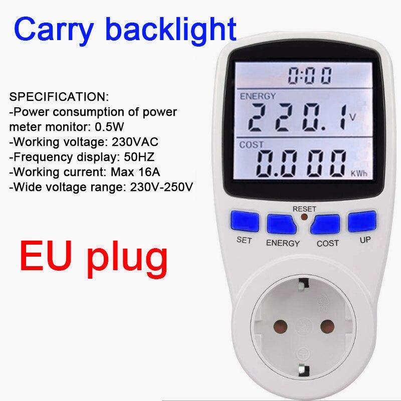Европейский союз цифровой ЖК-счетчик энергии кВтч измеритель мощности измерительный прибор анализатор мощности переносная подсветка