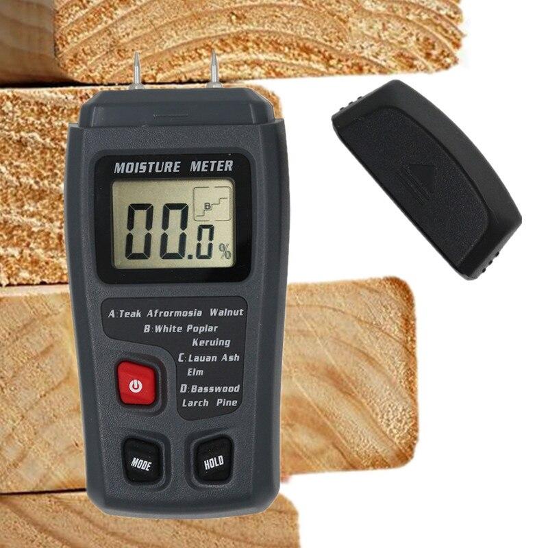 MT10 цифровой измеритель влажности древесины с двумя контактами 0-99.9%, измеритель влажности древесины, детектор влажности древесины с большим...