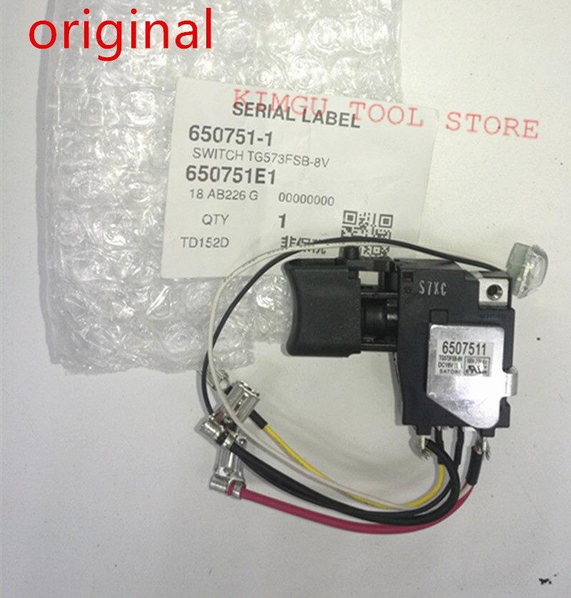 Оригинальный переключатель 18 в для Makita 650751-1 TD152D DTD152Z DTD152 DTD152Z DTD152RME DTD152RFE 6507511