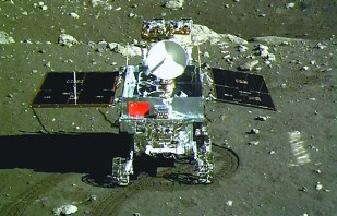 Chang'e 3 Yutu rover on Moon surface