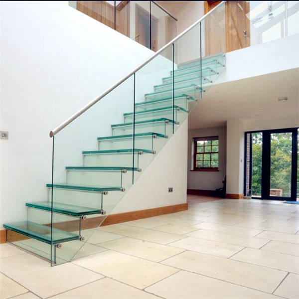 Oak Wood Tempered Glass Railing Floating Staircase | Oak Handrail For Glass | Cottage Style | Glass Railing | Red Oak | Landing | Stair Railing