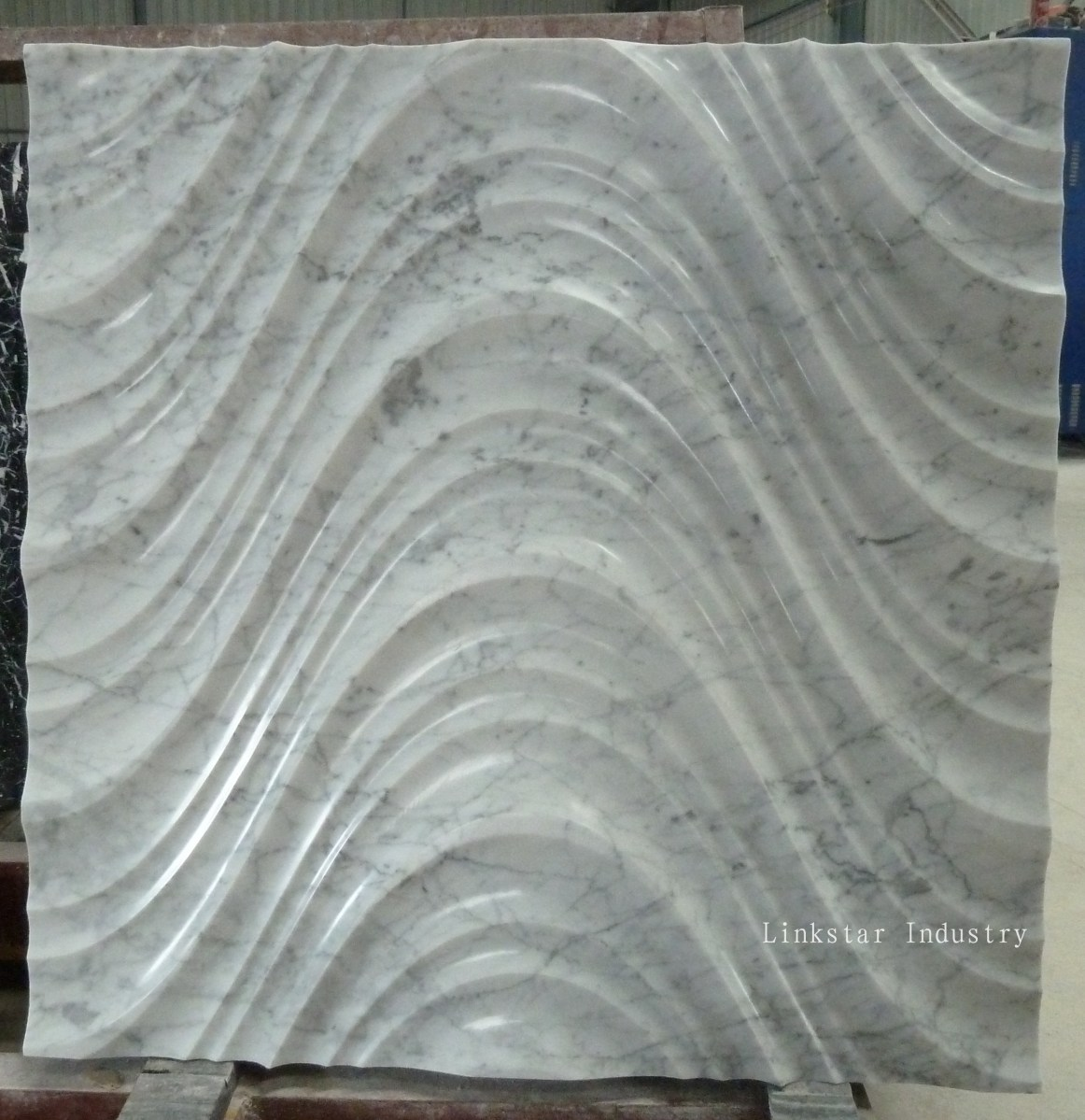 White Natural Stone Wall Panels 3D