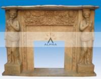 Stone Fireplace Mantel - Statue Fireplace, Statue ...