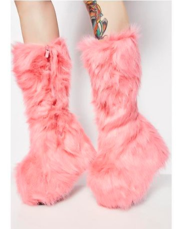 Brazen Ravin' I. Candy Party Monster Fuzzy Platform Boots