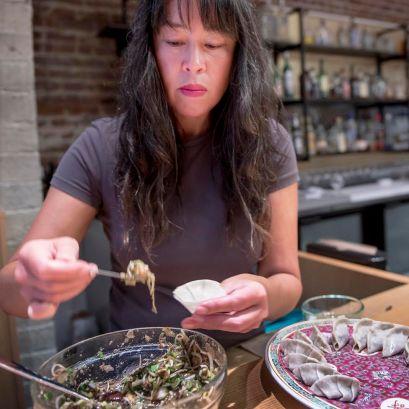 Judy making dumplings