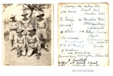 John Henry Wallis Bradburn in India with other members of his unit, prior to boarding gliders. On the reverse, he has identified the other men in the photo