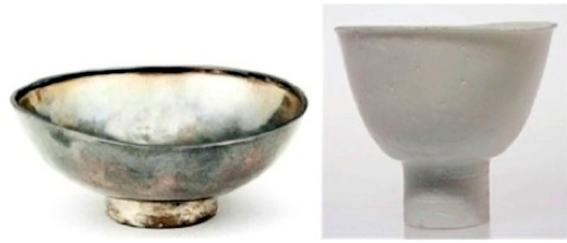 Sung silver & quinbai stemmed bowls