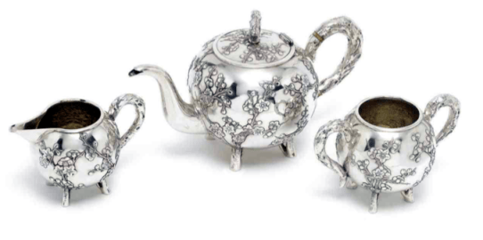 Circa 1880 Chinese Export Silver teaset by Sun Shing