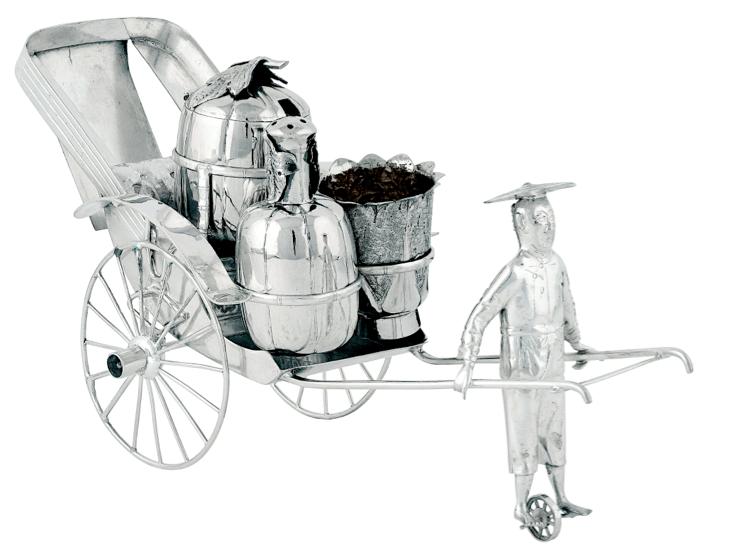 Chinese Export Silver 1895 Wang Hing Rickshaw Novelty Cruet Set