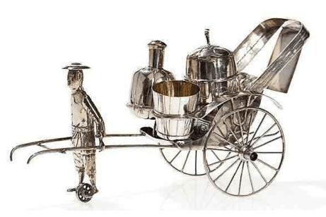 Chinese Export Silver Bao Xing Novelty Rickshaw Cruet