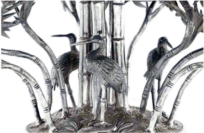 Chinese Export Silver Wang Hing epergne detail