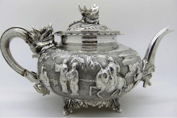 Chinese Export Silver Wang Hing Teapot