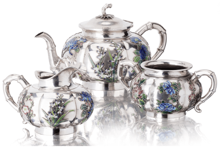 Huang Jiu Ji Chinese Export Silver tea set for Poh Sing