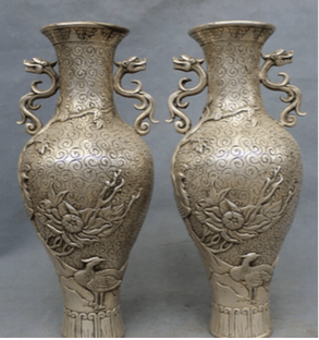 Pair Fake Chinese Silver Vases